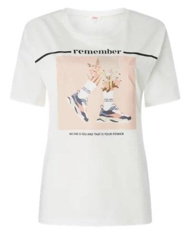 s.Oliver Red Label T-Shirt mit Print in Weiß für 15,99€ inkl. Versand (statt 24€)