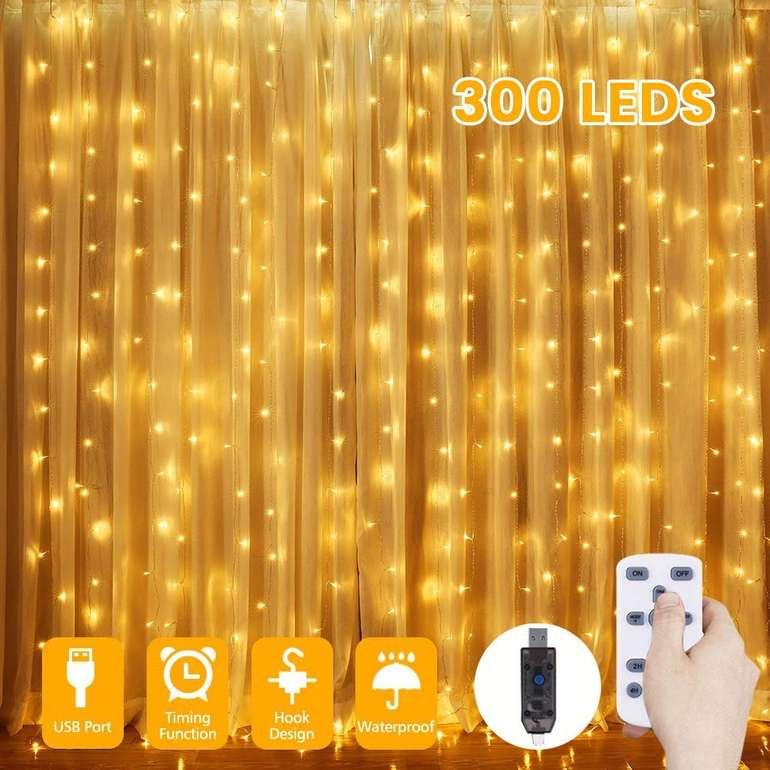 Glime LED Lichtervorhang (3x3 Meter, 300 LEDs) für 10,19€ inkl. Prime VSK
