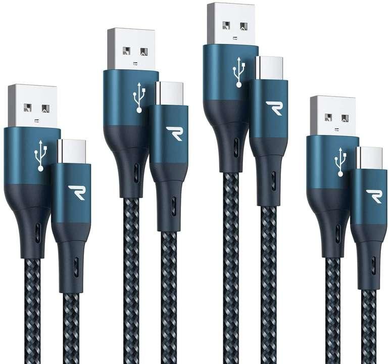 Rampow 4er Pack USB C auf USB A Ladekabel (0.2m+1m+2m+3m) für 4,99€ inkl. Prime Versand (statt 10€)