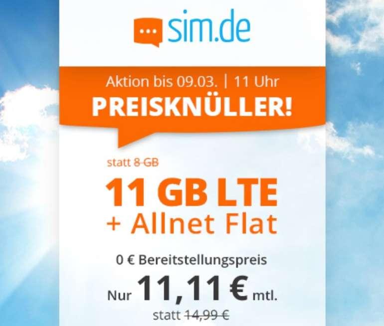 Sim.de o2 Allnet-Flat mit 11GB LTE Datenvolumen (bis zu 50 MBit/s!) für 11,11€ mtl. (ohne Vertragslaufzeit)