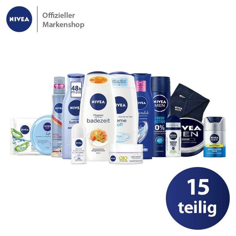 Nivea 15-teiliges Vorteilspack (13 Pflegeprodukte + 2 Handtücher) für 23,99€ inkl. Versand (statt 30€)