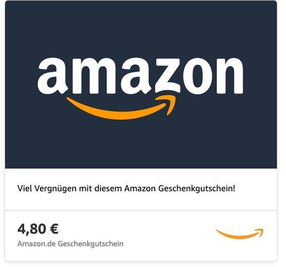 4,80€ Amazon Geschenkgutschein zum Preis von 3,96€ - Visa Karte