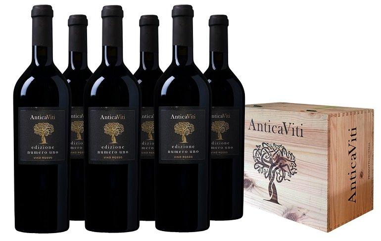 6 Flaschen Antica Viti Edizione Numero Uno Vino Rosso inkl. Holzkiste für 60€ inkl. Versand