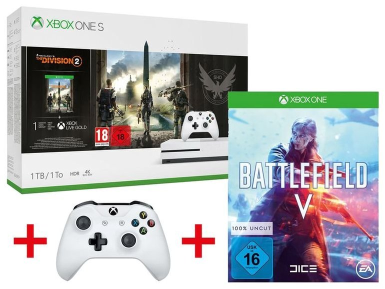 Microsoft Xbox One S 1TB Tom Clancy's: The Division 2 Bundle + Battlefield V + 2. Controller für 219€ (statt 293€)
