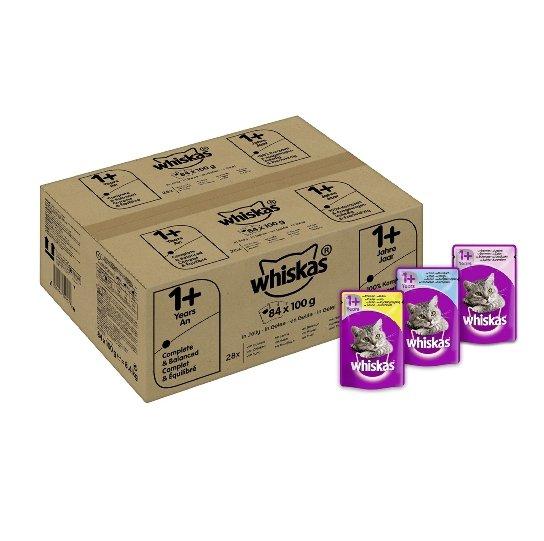Whiskas 1+ Katzenfutter Geflügelauswahl in Sauce (84x 100g) für 21,59€
