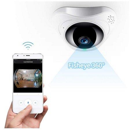 FREDI – IP WLAN 360° HD Überwachungskamera mit Fischaugenobjektiv für 29,99€