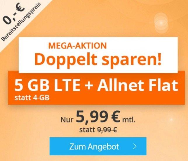 Bis Mitternacht! Sim.de o2 AllNet-Flat mit 5GB LTE Datenvolumen für 5,99€ mtl. (keine Anschlussgebühr)