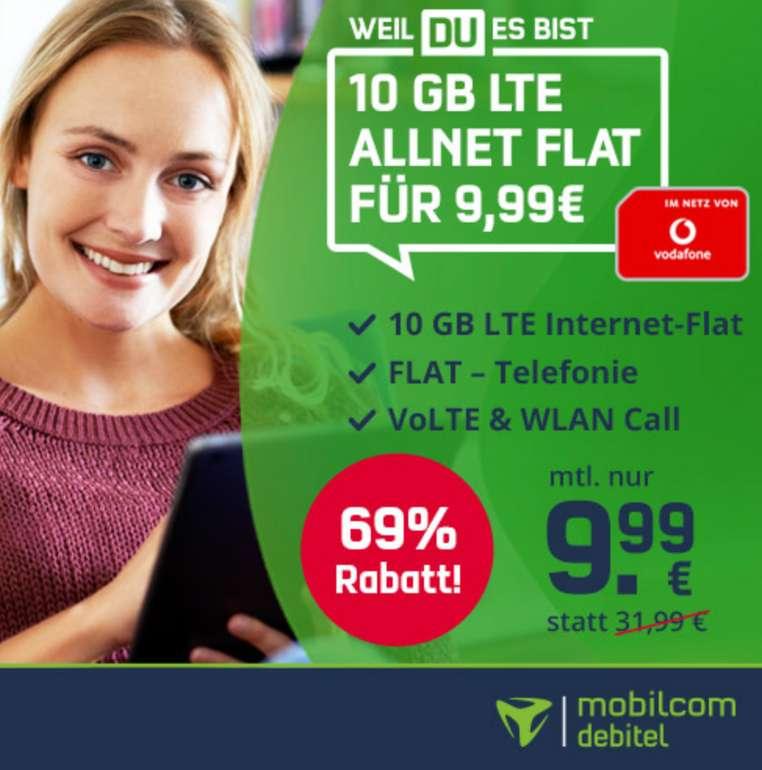 Vitrado: Mobilcom Debitel 10 GB Vodafone Allnet Flat für 9,99€ mtl. (9,99€ Anschlussgebühr)