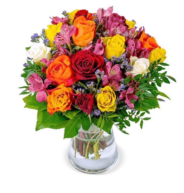 Rosenstrauß Farbtraum + Vase für 22,98€ inkl. Versand (statt 36€)