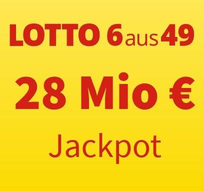 Lottohelden: 6 Felder 6aus49 für 1€ (statt 6€) - aktuell sind 28 Millionen € im Jackpot