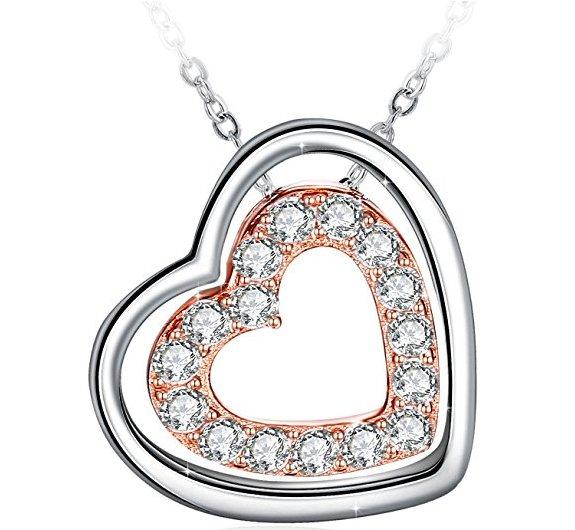 J.Rosée Damen Halskette mit Doppel-Herz Anhänger (925er Sterling) für 6,86€