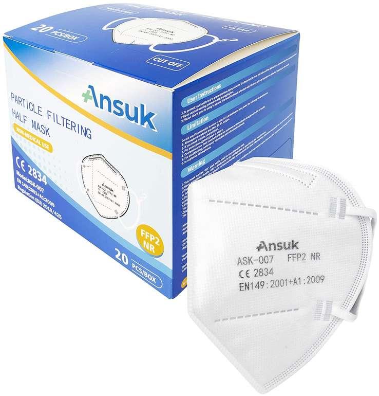 100er Pack Ansuk FFP2 Atemschutzmasken für 39,89€ inkl. Versand (200 Stück für 74,88€)