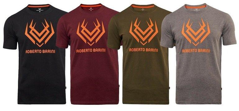 Roberto Barini Herren Kurzarm T-Shirts mit Logo Print