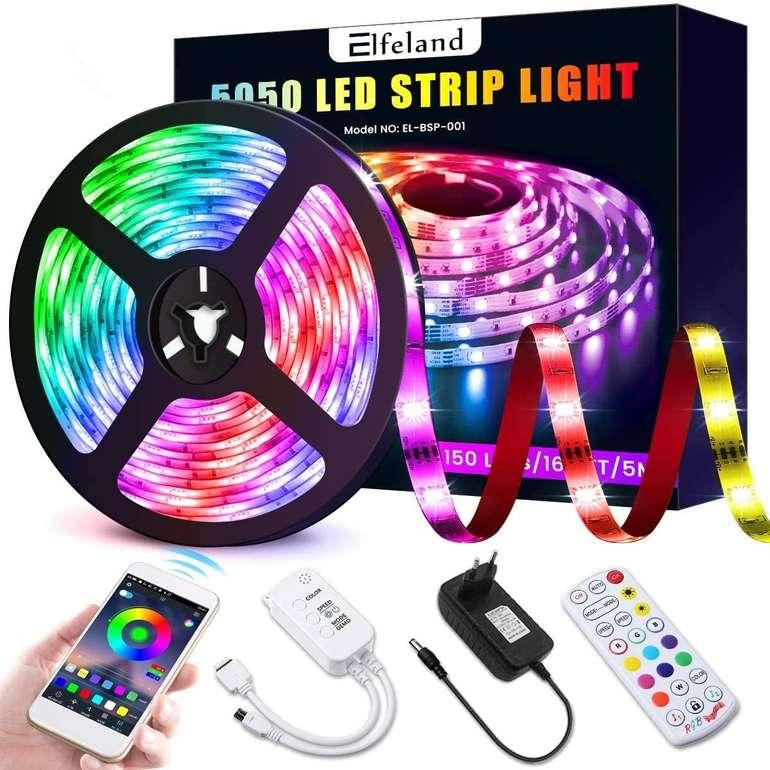Elfeland 5m RGB LED Streifen (App, Music Sync) für 9,99€ inkl. Prime Versand (statt 20€)