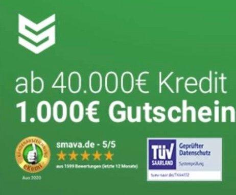 Smava Kredit ab 40.000€ aufnehmen und einen 1000€ Amazon.de Gutschein bekommen