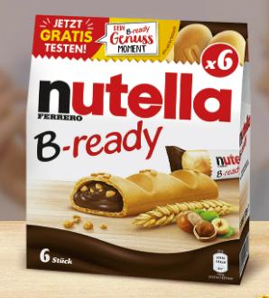 nutella B-ready Schokoladenriegel gratis Testen durch Geld-zurück-Garantie (GZG)