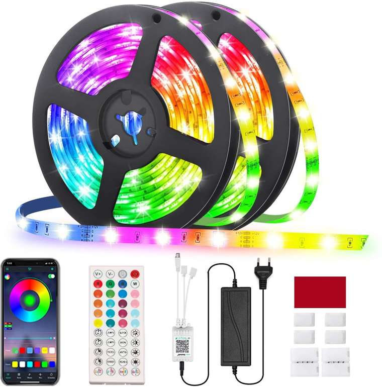 Glime 10m RGB LED Streifen (App, Fernbedienung, 300 LEDs) für 18,19€ inkl. Prime Versand (statt 28€)