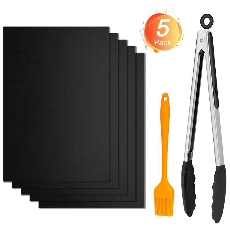 Winzwon 5er Pack wiederverwendbare Grillmatten inkl. Pinsel & Zange für 4,99€ inkl. Prime Versand (statt 10€)