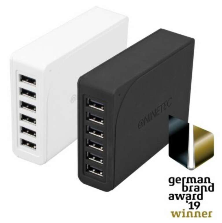 Ninetec 60W 6-Port Multi USB Universal Ladegerät mit SmartIQ Technologie für 8,99€