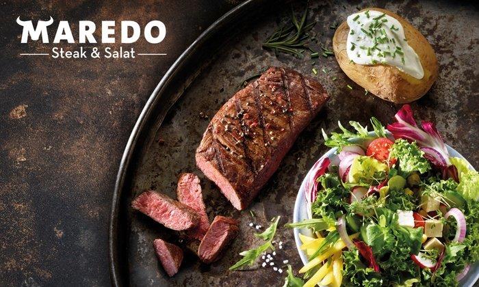 Groupon: Maredo Steak-Menü mit Salat Büffet + Nachtisch + Heißgetränk für 2 / 4 Personen ab 49,99€