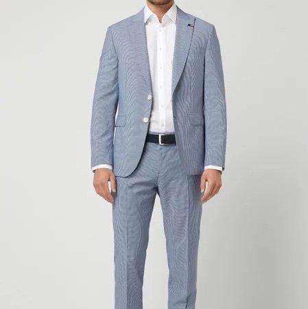 Tommy Hilfiger Schurwolle Anzug: Tailored Fit 2-Knopf-Sakko + Anzughose für 262,47€