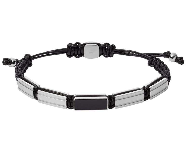 Fossil Herren Armband Stainless Steel Beaded Leather (JF03172040) für 15,40€ inkl. Versand (statt 41€)