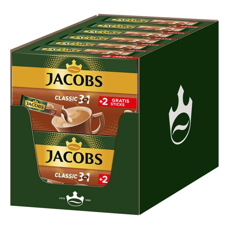 12 x 12er Pack (144 Sticks) Jacobs 3in1 Classic löslicher Kaffee für 21,49€ inkl. Versand (statt 25€)