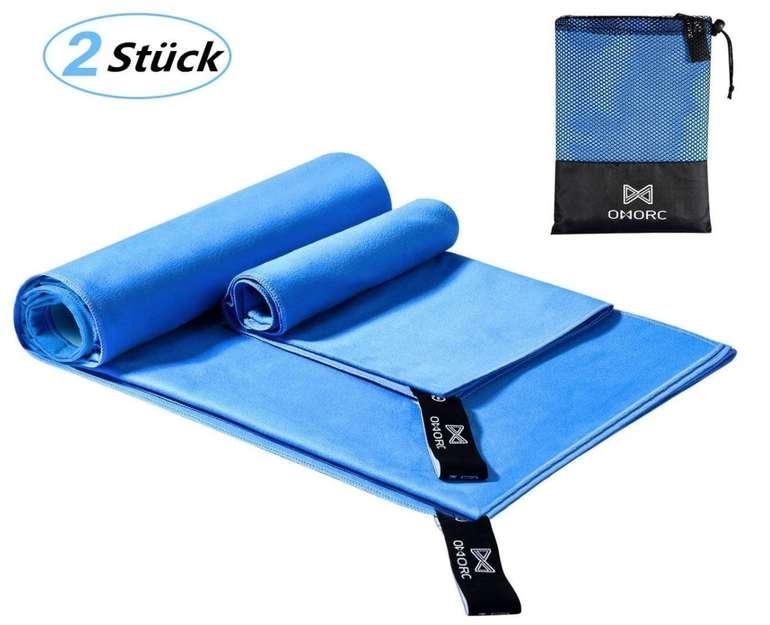 2er Pack Omorc Mikrofaser Handtücher (160 x 80cm und 70 x 38cm) für 5,99€ inkl. Prime (statt 12,45€)