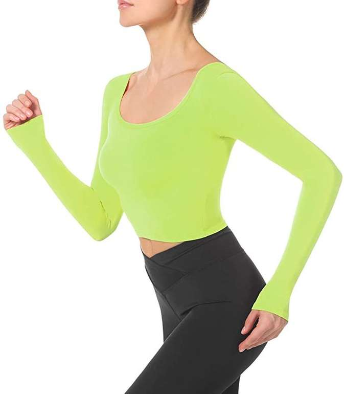 Beelu Damen langärmeliges Sport Crop Top in 3 Farben für je 7,99€ inkl. Prime Versand (statt 16€)
