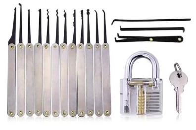 Lockmall S - Transparentes Vorhängeschloss + Dietrich-Set für 8,10€ inkl. VSK