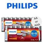 64x Philips Power Alkali-Batterien, AA oder AAA für 14,95€ inkl. VSK (statt 30€)