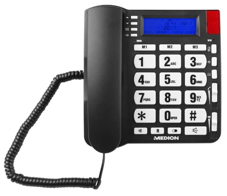 Medion Life E63195 Großtasten-Telefon mit LCD Display (Hörgerätekompatibel) für 14,95€ - B-Ware!