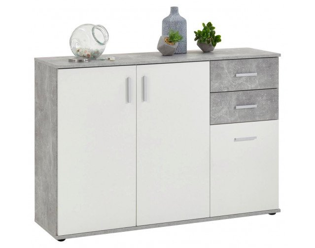 Kommode Beton Optik (120 x 82 cm) in grau-weiß für 44€ zzgl. Versand (statt 70€)