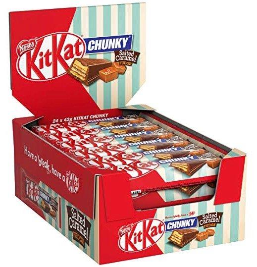 24er-Pack Nestlé KitKat ChunKy Salted Caramel Fudge für 9,99€ mit Primeversand (statt 16€)
