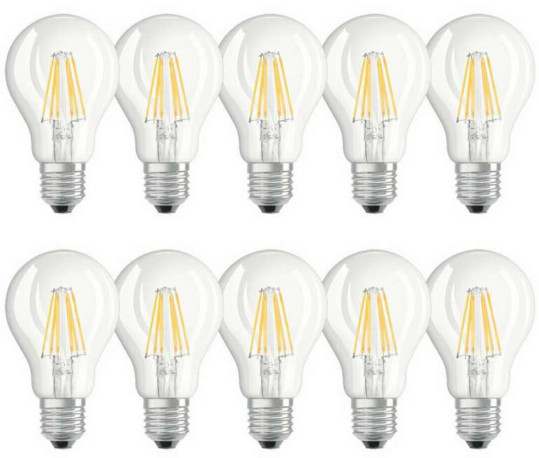 10 x Osram LED Filament Leuchtmittel (60 W, 2700K, E27) für 8,99€inkl. Versand (statt 17€)