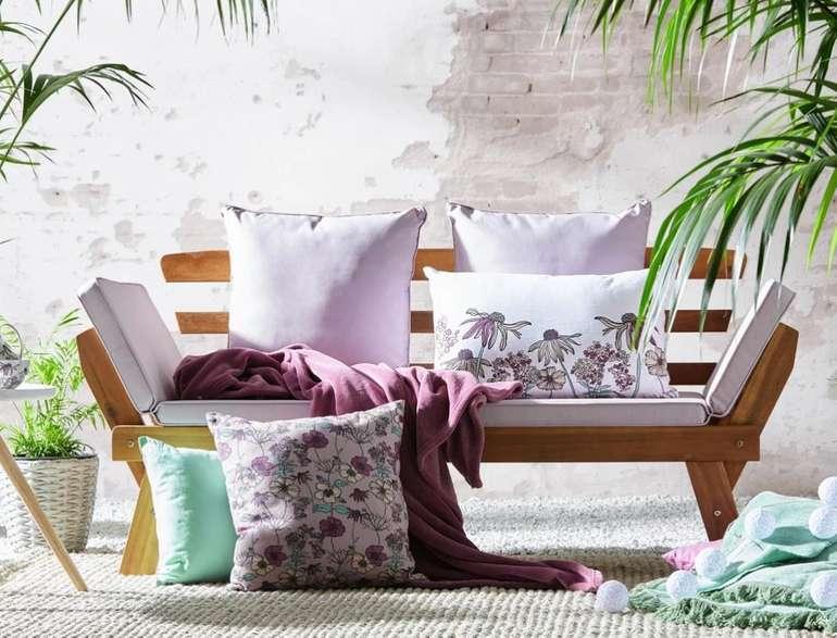 Zandiara Gartenbank aus Akazienholz mit Sitzauflage (192 x 68 x 75 cm) für 165,45€ inkl. Versand