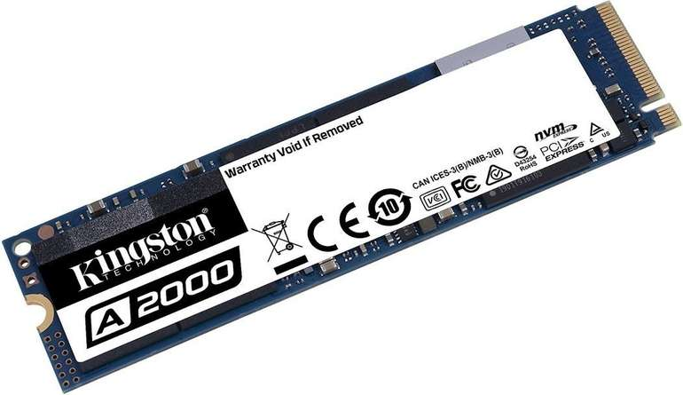 Kingston A2000 - 1TB M.2 SSD 2280 NVMe PCIe 3.0 x4 für 86,55€ (statt 103€) - Saturn Card!