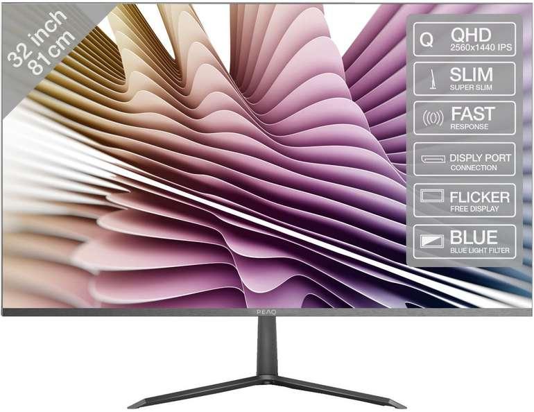 Peaq PMO Slim S320 Monitor (31,5 Zoll, WQHD, 5 ms, 60 Hz) für 199€ inkl. Versand (statt 219€)