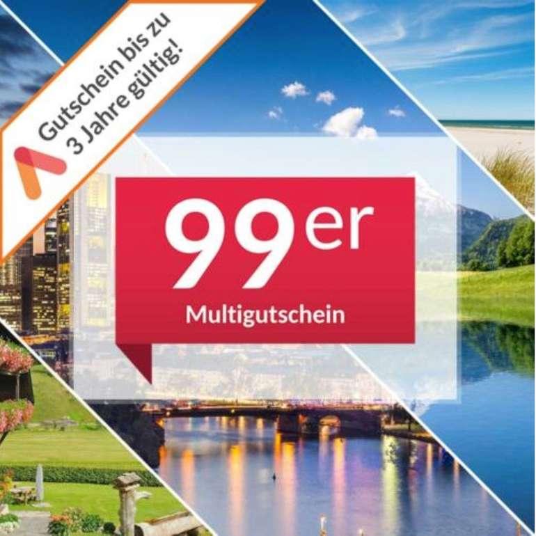 3 Jahre gültig! Animod 99ers Multigutschein für über 100 Hotels (2 Übernachtungen, 2 Personen) nur 99,98€