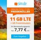 Sim.de: o2 Tarif mit 11 GB LTE + 60 Freiminuten (VoLTE, WLAN Call, 3 Monate Kündigungsfrist) für 7,77€ mtl.