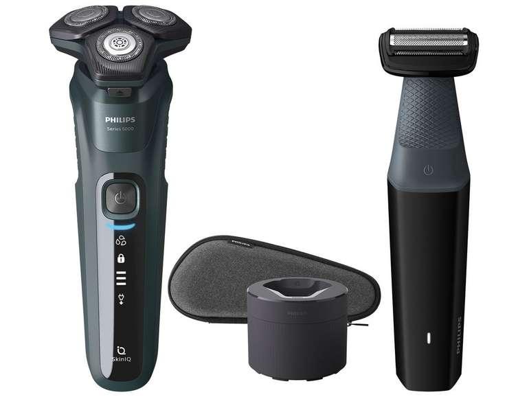 Philips Nass- und Trockenrasierer S5584/57 mit Bodygroom, Reinigungsstation und Reise-Etui für 115,90€ (statt 162€)