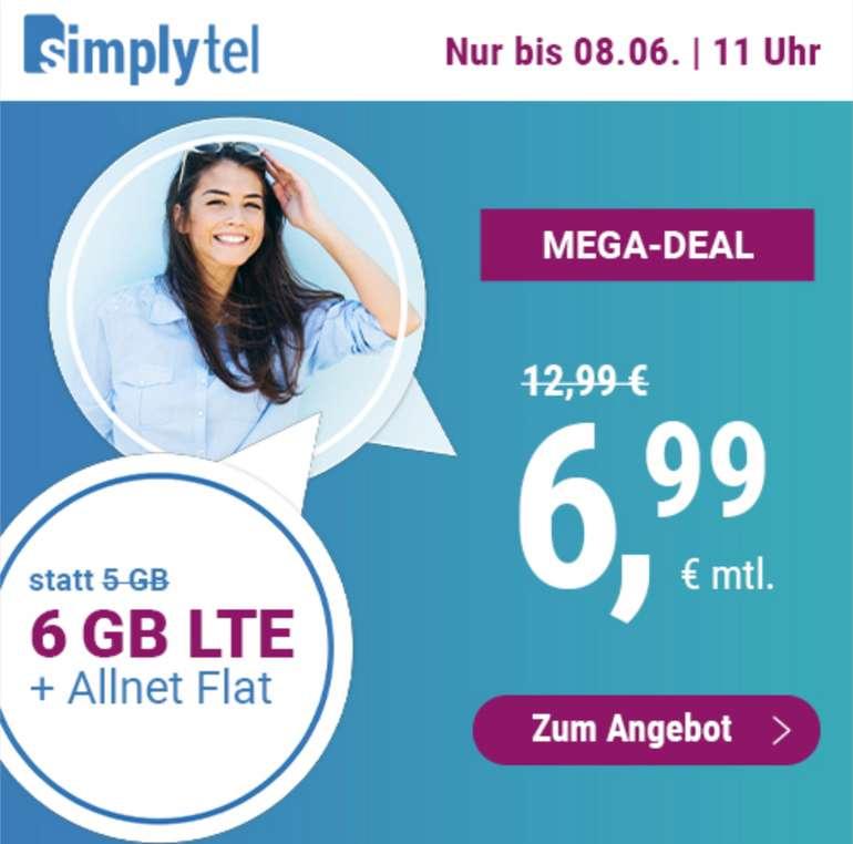 simplytel Allnet- & SMS-Flat mit 6GB LTE (50 Mbit/s) für 6,99€ mtl. (3 Monate oder 24 Monate; o2-Netz)