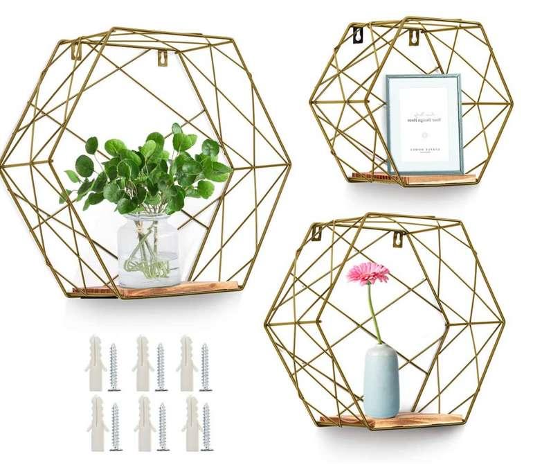 Keors 3er Set Hexagon Wandregal aus Holz und Metall für 17,95€ inkl. Prime Versand (statt 25€)