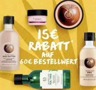The Body Shop: 15€ Gutschein + VSKfrei (MBW: 60€) - Günstig Kosmetik kaufen!