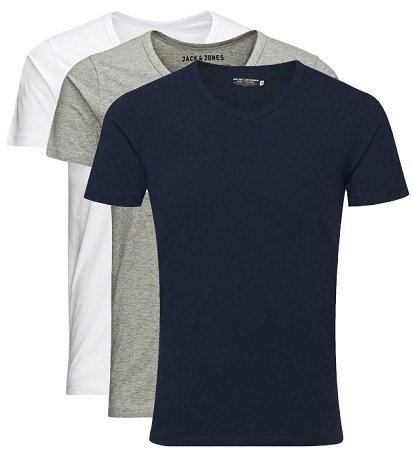 3er Pack Jack & Jones Herren Basic T-Shirts mit V-Ausschnitt für 23,98€