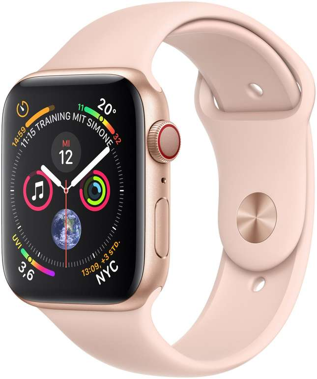 Apple Watch Series 4 GPS + Cellular (44mm, Alugehäuse Gold, Sportarmband Sandrosa) für 379€