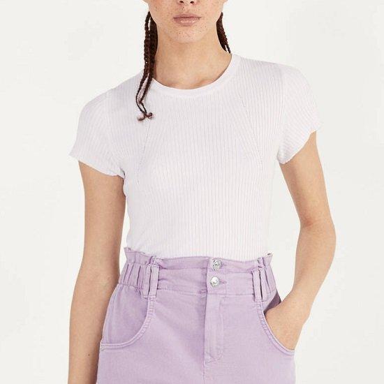 Bershka Shirt mit kurzen Ärmeln und Rippenstrick für 7,79€ zzgl. Versand