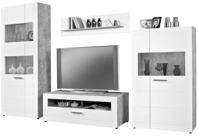 "Wohnwand ""Atlanta"" in Beton-Optik 320 x 202 x 45 cm für 464,99€ inkl. Versand (statt 565€)"