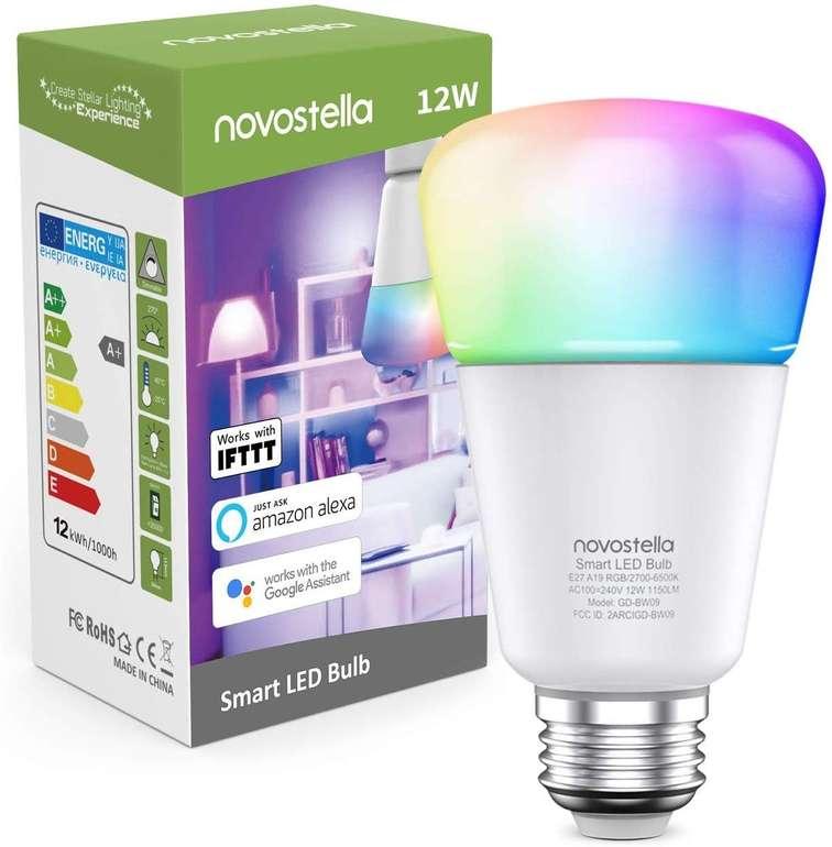 Novostella smarte LED RGBCW Glühbirne (Alexa/Google Assistant kompatibel, E27) für 14,99€