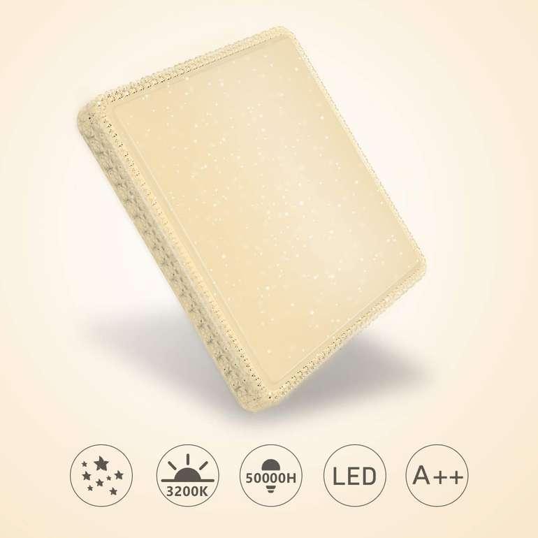 -60% auf Hengda LED Deckenleuchten mit Sternenhimmel-Effekt, z.B. 60W warmweiß eckig mit Kristall für 16,40€